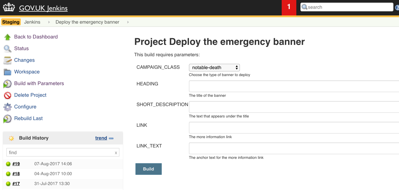 Jenkins Deploy Emergency Banner